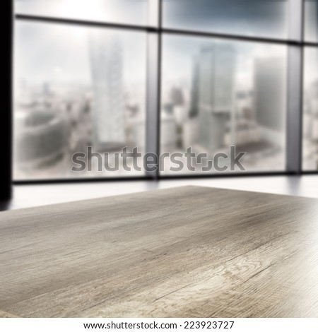 interior of office with window and table  - stock photo