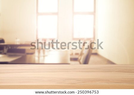 interior of office with window and table with chair and desktop  - stock photo
