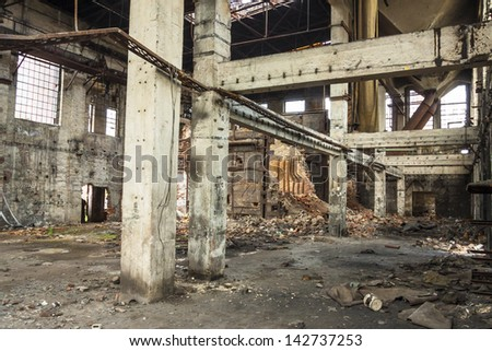 Interior of old abandon hall in Kalety - Paperworks. Poland, Silesia province. - stock photo