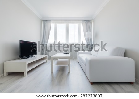 Interior of pure and clear sitting room - stock photo