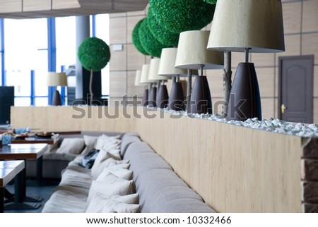 interior of restaraunt in the day light - stock photo