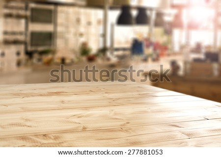 interior of retro kitchen place and desk of yellow color   - stock photo