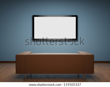 Interior of room with TV and sofa - stock photo