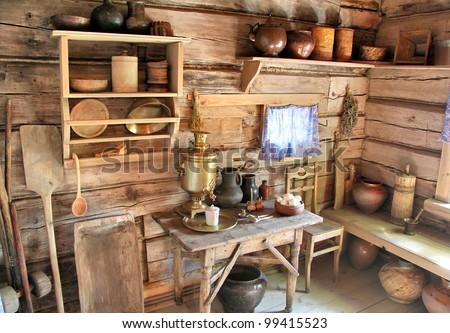 Interior of russian izba - stock photo
