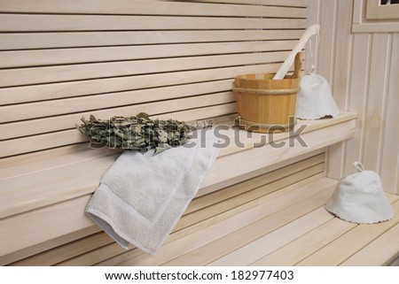interior of russian wooden bath - stock photo