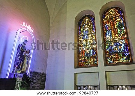 Interior of Saigon Notre-Dame Basilica in Ho Chi Minh City, Vietnam - stock photo