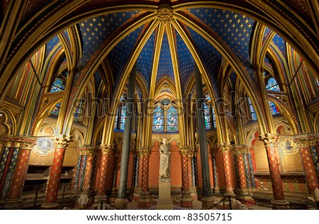 Interior of Sainte-Chapelle, Paris, france - stock photo
