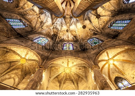 Interior of Santa Maria del Mar, the most beautiful gothic church in Barcelona - stock photo