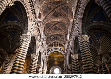 Interior of Siena Cathedral in Tuscany, Italy - stock photo
