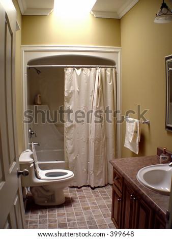 Interior of small bathroom - stock photo