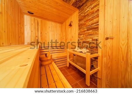 Interior of small home Finnish wooden sauna - stock photo