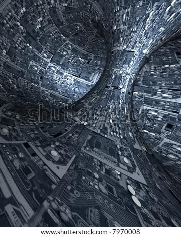 Interior of space ship - stock photo