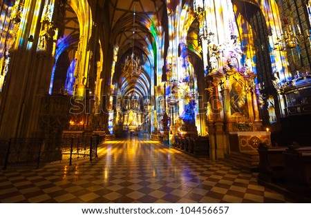 Interior of St. Stephen's Cathedral.  Vienna, Austria - stock photo