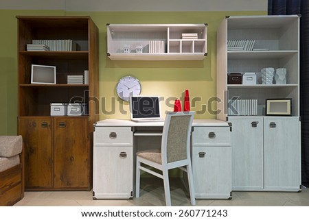 Interior of student (teenager) room in the evening - back to school - stock photo