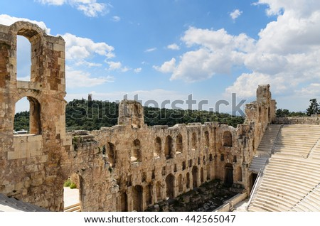 Interior of the ancient Greek theater Odeon of Herodes Atticus in Athens, Greece, Europe - stock photo