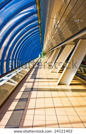 Interior of the Business Centre Bridge passage, Moscow, Russia - stock photo