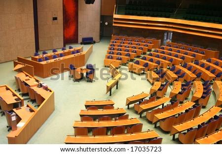Interior of the Dutch parliament - stock photo