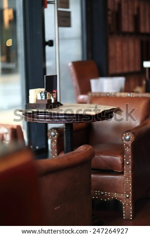 Interior of the empty cafe pub in the afternoon - stock photo