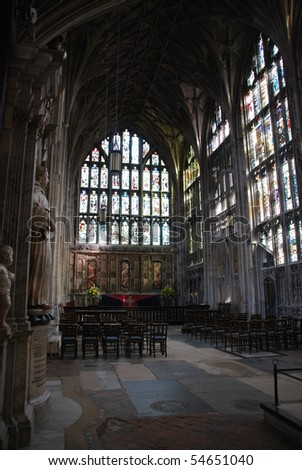 interior of the famous Gloucester Cathedral, England (United Kingdom) - stock photo