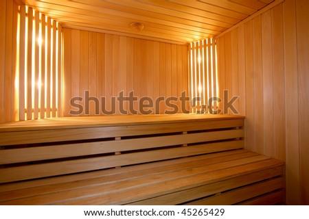 Interior of the Finnish sauna - stock photo