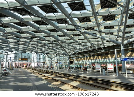 Interior of The Hague central station, Netherlands - stock photo