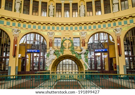 Interior of the historical main railway station in Prague, Czech Republic - stock photo