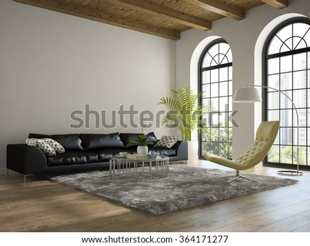 Interior of the  loft with black sofa 3D rendering  - stock photo