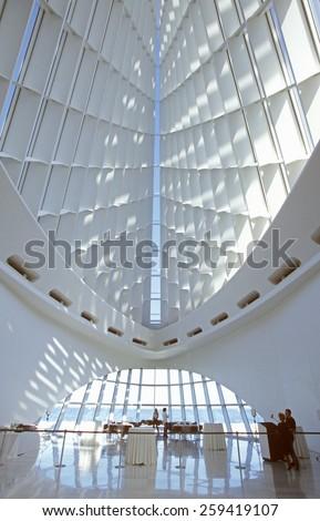 Interior of the Milwaukee Art Museum on Lake Michigan, Milwaukee, WI - stock photo