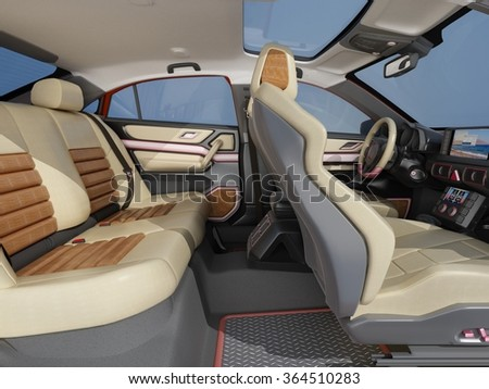 Interior of the modern car. - stock photo