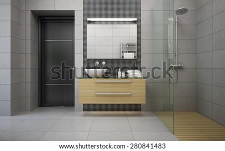 Interior of the modern design  bedroom 3D rendering  - stock photo
