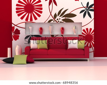Interior of the modern room, floral wall and red sofa - stock photo