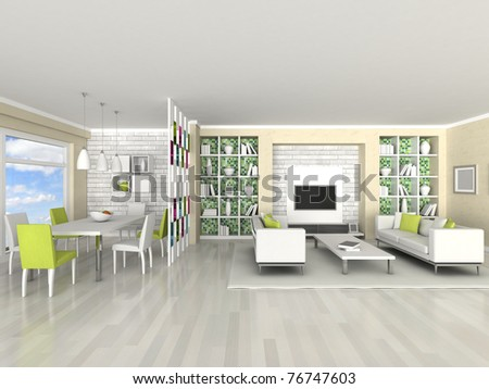 Interior of the modern room, living room, dining room - stock photo