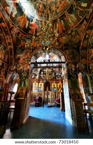 Interior of the Monastery of the Holy Trinity (1475), Meteora, Greece - stock photo