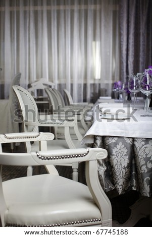 interior of the restaurant in a classical style - stock photo