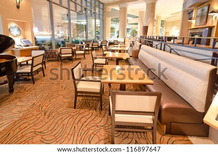 Interior of the restaurant of the luxury five stars hotel. Vancouver, Canada. - stock photo