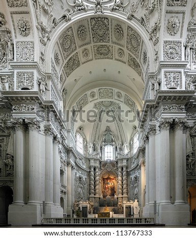 Interior of the Theatine Church (Theatinerkirche) in Munich, Germany - stock photo