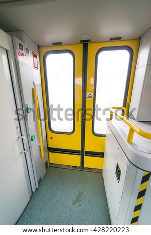 interior of the train - entrance to the train - stock photo