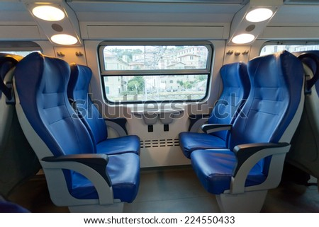 Interior of the train of the long-distance message in Europe - stock photo