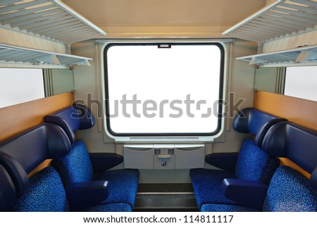 Interior of train and blank window - travel background - stock photo
