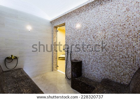 Interior of Turkish sauna, classic Turkish hammam - stock photo