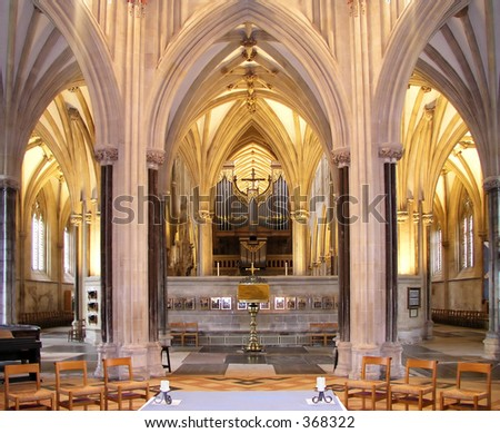 interior of Wells cathedral in somerset england - stock photo