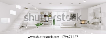 Interior of white apartment living room hall panorama 3d render - stock photo