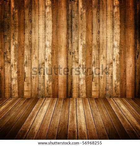interior of wood house - stock photo