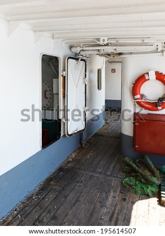 interior parts of the old Istanbul ferry - stock photo