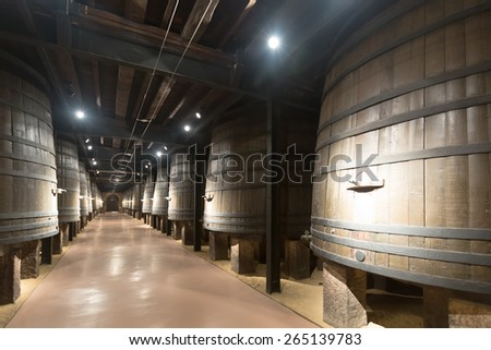 Interior photo of old winery  with wooden barrels  - stock photo