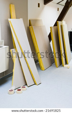 interior renovation with construction materials - stock photo