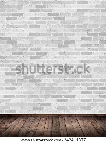 Interior room with brick wall - stock photo