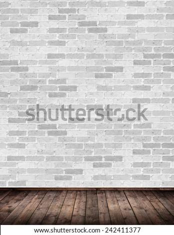 Interior room with brick wall - stock photo