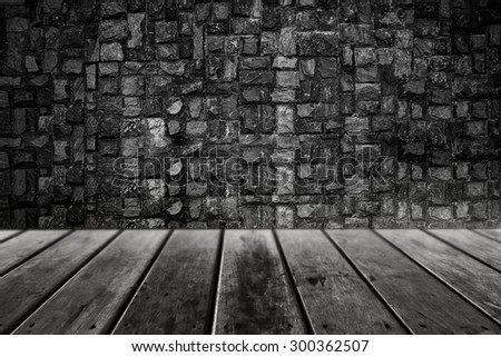interior room with grunge wall - stock photo