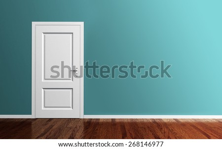 Interior room with white door,wood floor and blue wall 3d render - stock photo